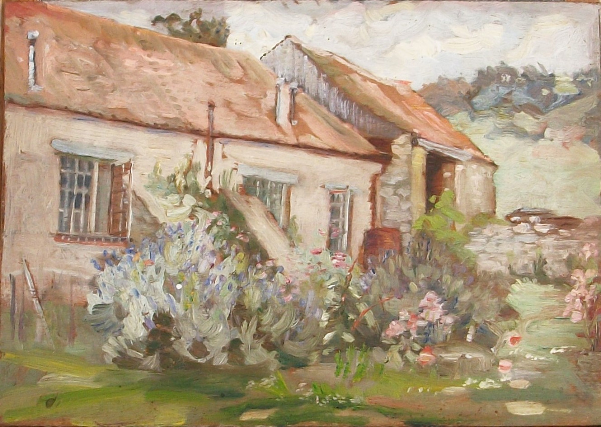 oil on board depicting a country cottage