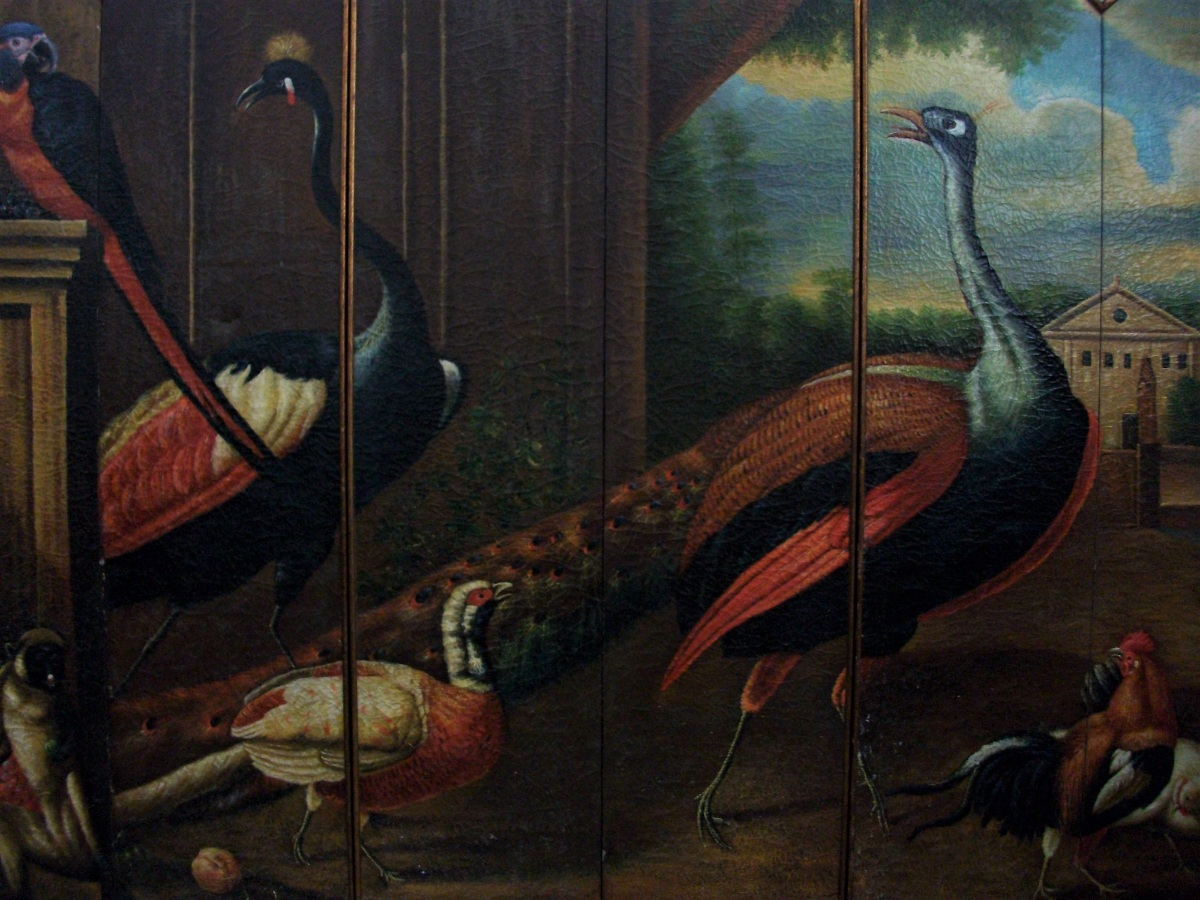 Six Fold Dressing Screen Wall Art Oil Painting Depicting Exotic Animals & Birds