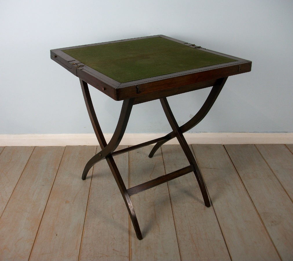 Mahogany Military Campaign Folding Desk and Games Table