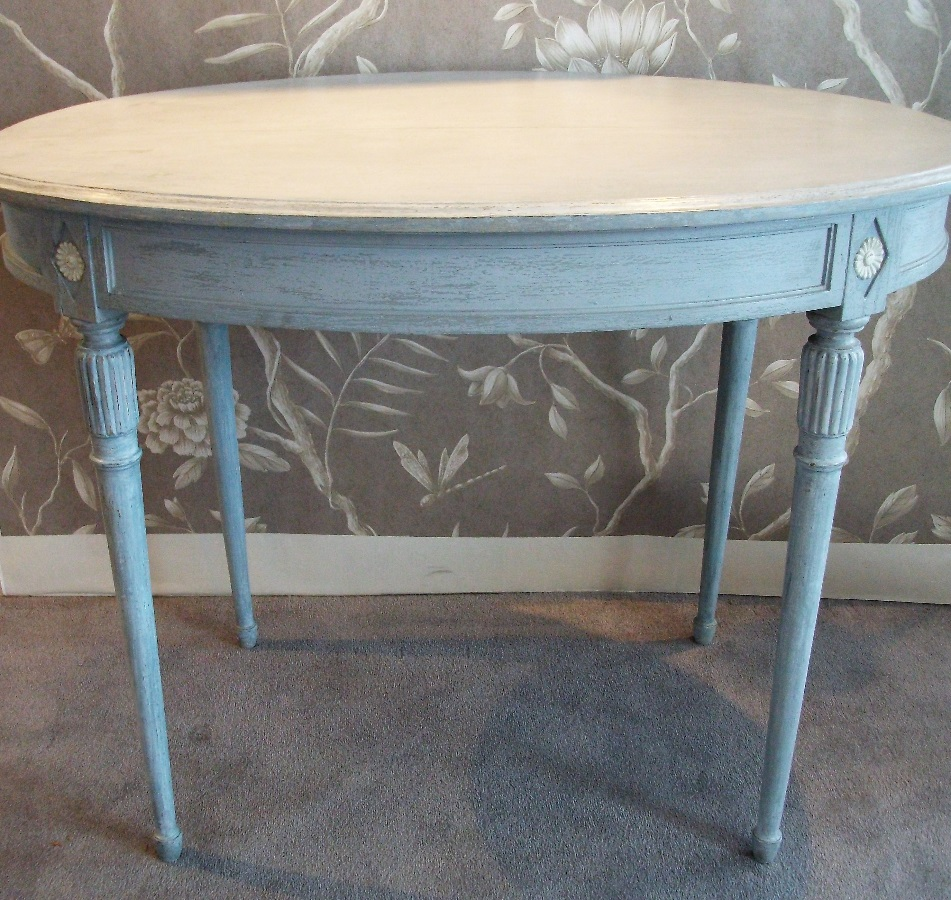 French Oval Painted Occasional Dressing Table