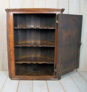 18th Century Oak Barrel Back Corner Cupboard