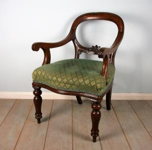 19th Century Mahogany Balloon Back Desk Chair