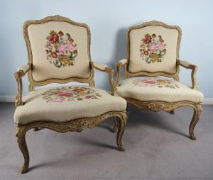 A Fine Pair Of Painted and Gilt French Armchairs (32).JPG