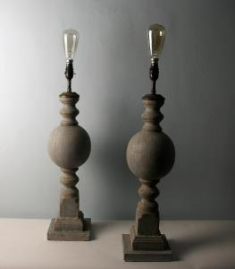 A pair of decorative painted table lamps