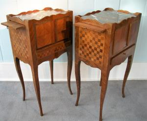 Pair of French Louis XVI style marquetry bedside cabinets