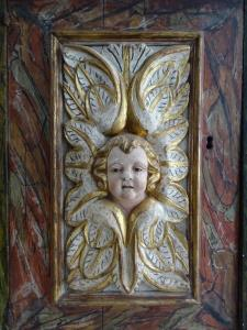 Italian Baroque Panel Door Relief Carving Head of a Cherub Putto
