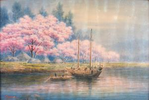 Japanese scene with fishing boats and blossoming trees near a village