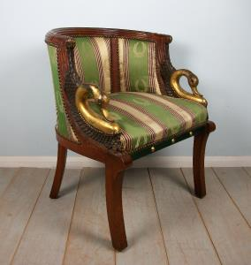 Empire Style Gilt Walnut Tub Shaped Desk Chair