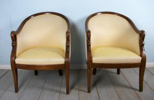 Fine Pair of Empire Swan Tub Chairs