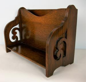 Arts and Crafts Oak Book Caddy / Holder