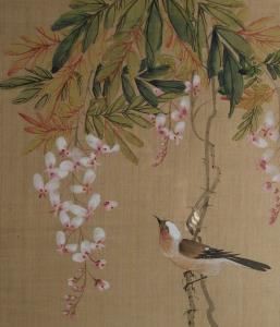 Birds on Blossom Japanese Painting on silk