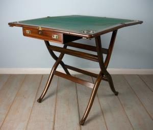 Mahogany Campaign Folding Card Games Table