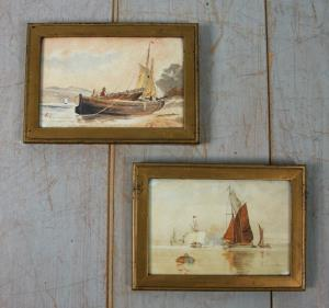 Pair of watercolour marine scene