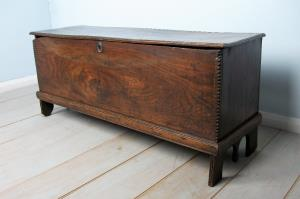 17th century elm six plank coffer