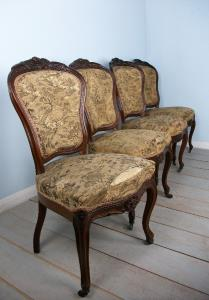 Set of Four French Rosewood Dining Hall Chairs