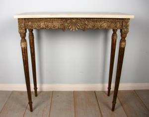 19th Century Console Table with beautiful marble top and reeded tapered legs