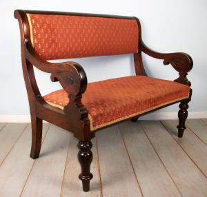 Victorian Walnut Window Seat Hall Bench