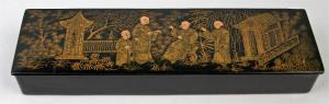 Antique Japanese Hand-Painted Black Lacquer Pencil Box Papier Mache Chinoiserie