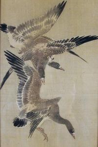 flying geese japanese ink and colour on silk