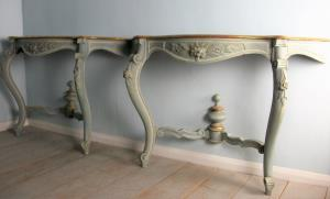Pair of Painted and Gilded Italian Console Tables