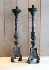 A PAIR OF PEWTER TALL ALTAR CANDLESTICKS