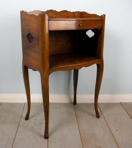 French Louis XV Style walnut open bedside cupboard on cabriole legs