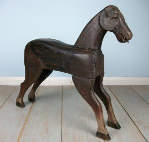 Folk Art Naive Primitive Painted Wooden Horse Wood Sculpture