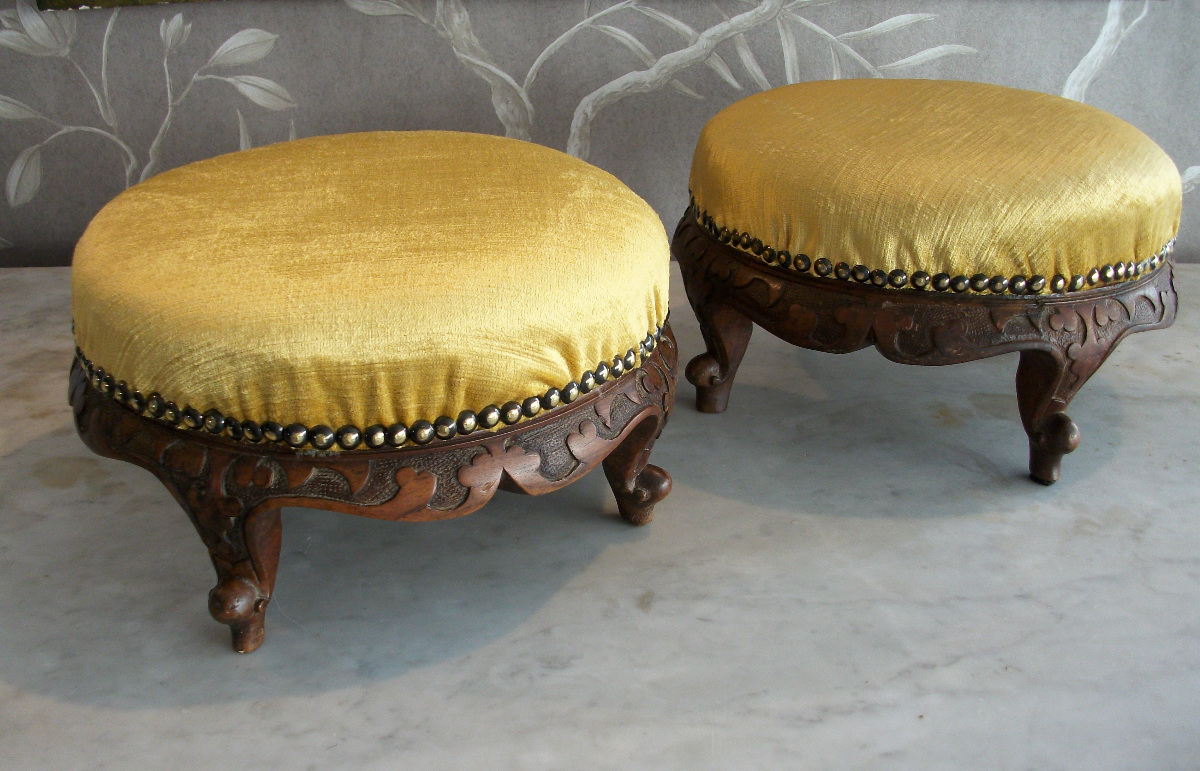 Victorian footstools with carved fascia
